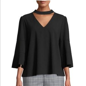 LAUNDRY BY SHELLI SEGAL Chocker Flare-Sleeve Top